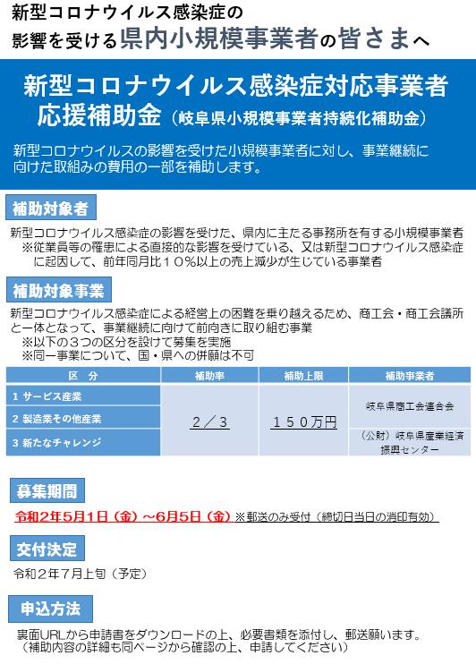 新型コロナウイルス感染症対応事業者応援補助金(岐阜県小規模事業者持続化補助金)公募開始について